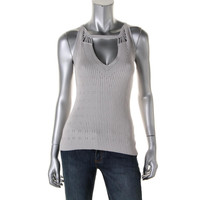 Nanette Lepore Womens Pointelle Knit Tank Top Sweater