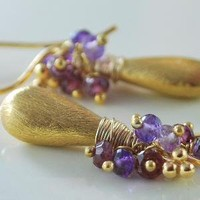 Vermeil Teardrops with Rhodolite Garnet and by livjewellery