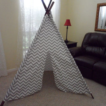 Gray Chevron Tent with Stained Poles Large size or Pick your color Tepee Made to Order Tents