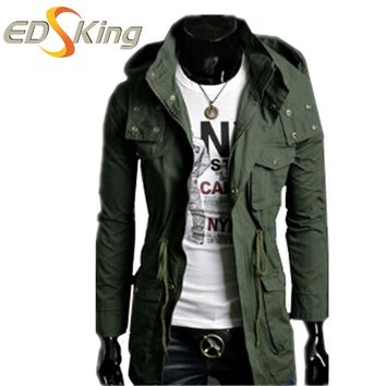 Mens New Long Coat Green Jacket With Hood Man Male Raincoats Male Slim Windcheater Long Spring Trench Coat Bunker Overcoat Park