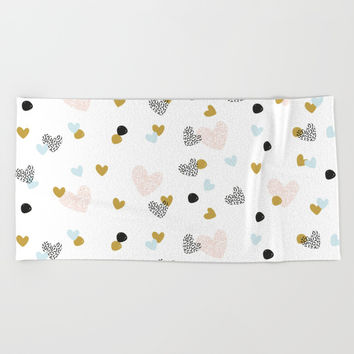 abstract pattern with hearts #society6 #homedecor Beach Towel by Graf Illustration