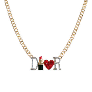 2015 fashion and Europe and the United States and the big brands of lipstick Love Necklace
