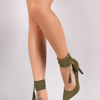 Breckelle Nubuck Ankle Cuff Pointy Toe Pump