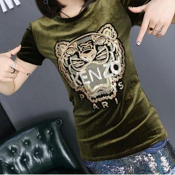 """Kenzo""Hot Sale Popular Women Leisure Tiger Head Letters Print Short Sleeve Velours T-shirt Top Green"