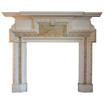 18th Century Georgian Statuary Marble and Alabaster Chimneypiece