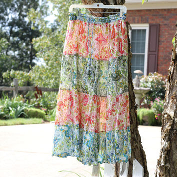 Crinkly Cotton Boho Skirt 4-Tier | Sz M Prairie Skirt Mid-Calf | Self - Tie Drawstring Waist | 60's Hippie Skirt Lined | Made in India