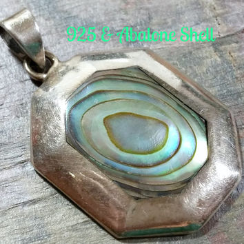 Vintage Seashell Abalone Paua Shell in Sterling Silver Necklace Pendant Earthy Gift from the Sea Nature Lover of all Things Beach and Ocean