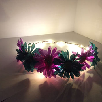 Purple and teal daisy LED light up festival rave flower crown-ready to ship