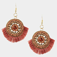 Rose Gold Round Multi Beaded Thread Fringe Earrings