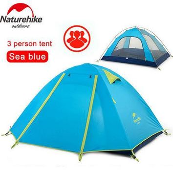 NatureHike Waterproof Fabric Double Layer 3 4 Person Ourdoor Camping Tent for Hiking Fishing Hunting Adventure Picnic Party