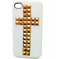 DIY Punk Pyramid Studded iphone 4 4G 4S Protective Case for Girl White with Gold Studs and Spikes Decoration