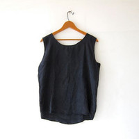 vintage black silk tank top / oversized boxy silk camisole / loose fit silk top