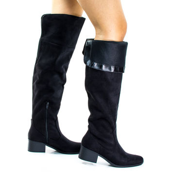 #Pamela Black by City Classified, Black Western Knee High Boots w Foldable Flap & Block Stacked Heel