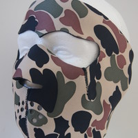 Neoprene black & reverse with Brown camo full face mask for Hunting,winter sport