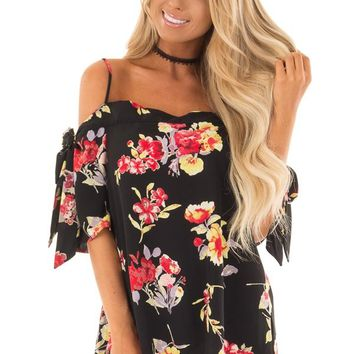 Black Floral Print Cold Shoulder Top with Tie Details