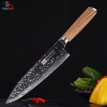 FINDKING 2017 New Zebra wood handle damascus knife 8 inch Professional chef knife 67 layers damascus steel kitchen knives
