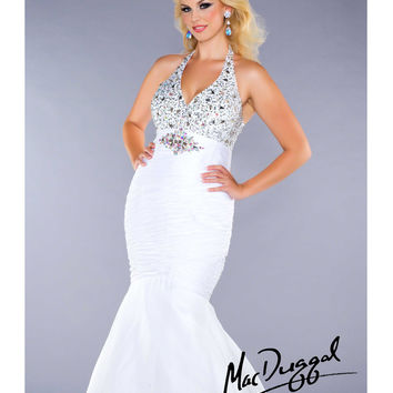 Mac Duggal 2014 Plus Size Prom Dresses - White & Silver Halter Sweetheart Long Gown
