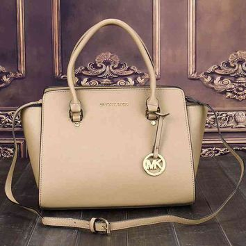 MK Stylish Ladies Personality Bag Leather Satchel Crossbody Handbag Shoulder Bag Beige I