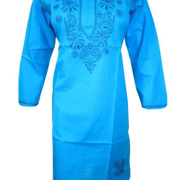 Woman's Cotton Kurti Blue Tunic Dress Floral Embroidered Caftan Dress M Size
