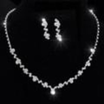 Silver Tone Crystal Tennis Choker Necklace Set Earrings Factory Price