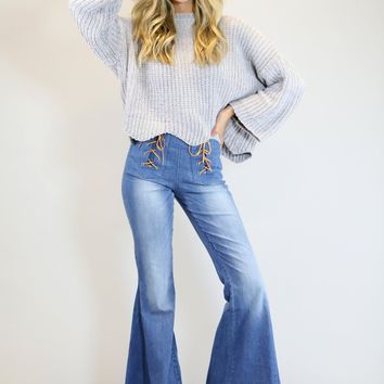 JUDITH MARCH Stretch Denim Flare Pants with Front Lace-Up Detail