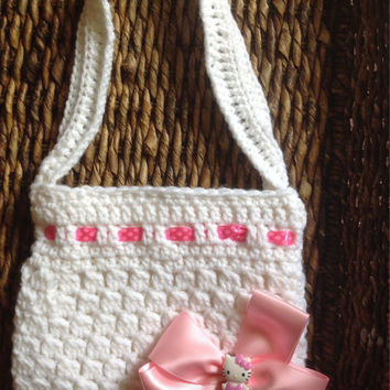 Crochet White Purse with Detachable Hello Kitty Bow