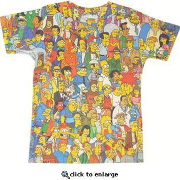 The Simpsons Springfield Crowd Photosheer Beige Adult T-Shirt  - The Simpsons - Free Shipping on orders over $60 | TV Store Online