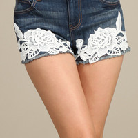 Boardwalk Stroll Floral Crochet Detail Denim Shorts - Medium Wash