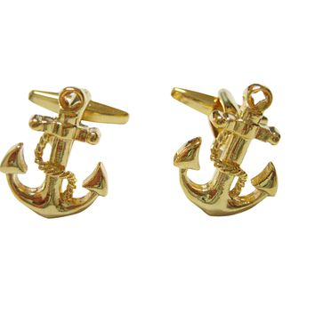 Gold Toned Detailed Nautical Anchor Cufflinks