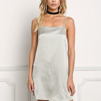 Sage Satin Cross Strap Slip On Dress