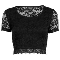 Short Sleeve Lace Crop - Jersey Tops - Clothing - Topshop