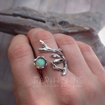 Opal Tree Branch ring, adjustable to any size 5-10, genuine welo opal, wood, leaf, woodland forest faerie