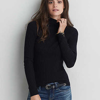 AEO Fitted Mock Neck Sweater, Black