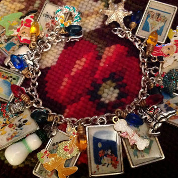 Vintage Disney Christmas Card Altered Art Charrm Bracelet