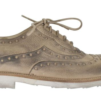Dolce & Gabbana Beige Leather Wingtip Shoe