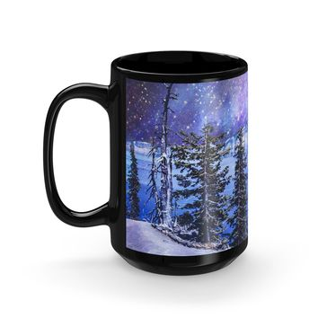Surreal Crater Lake Coffee Mug - 15oz Black Ceramic