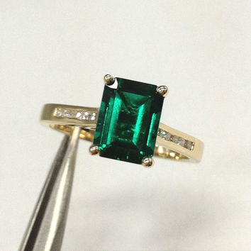 Emerald Engagement Ring 14K Yellow Gold!Diamond Wedding Bridal Ring,6x8mm Emerald Cut Treated Green Emerald,Channel,Can make Matching Band