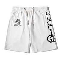 GUCCI x NY co-branded letter rope waistband cotton five points casual shorts white