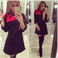 Black Long Sleeve A-Line Dress