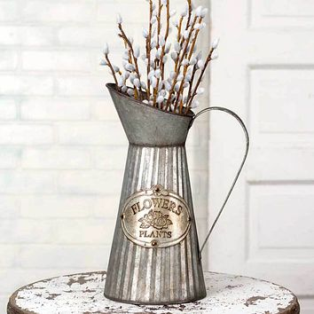 Flowers and Plants Tag Tall Galvanized Metal Pitcher with Handle