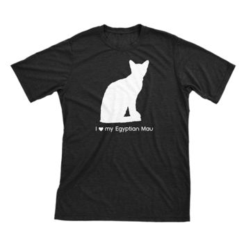 I Love My Egyptian Mau | Must Love Cats® White On Black Short Sleeve T-Shirt