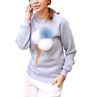 Women Autumn Sweatshirt Colorful Plush Ball Longsleeve O-neck Causal Tracksuit Ladies Truien Women Hoodies LM75