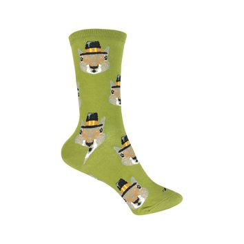 Pilgrim Squirrels Crew Socks in Pesto