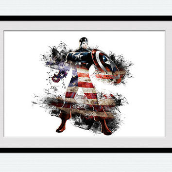 Captain America watercolor poster Superhero colorful print Home decor gift Kids room decoration Wall hanging art Marvel illustration  W171