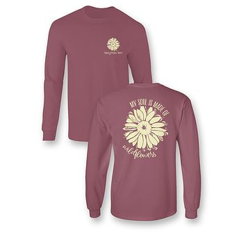 Sassy Frass My Soul is Made of Wildflowers Comfort Colors Girlie Bright Long Sleeve T Shirt