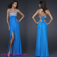 Elegant flowing chiffon sequins floor length gown /prom dress from Girlsfriend