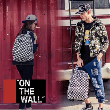 """Vans""Fashion Personality printing large capacity backpack bag leisure travel boom Black and white checkerboard(8 style)"