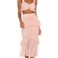 Song of Style Ada Midi Skirt in Pink Blush | REVOLVE