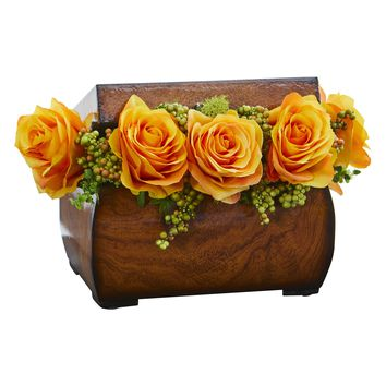 Artificial Flowers -Roses Yellow Arrangement in Decorative Chest