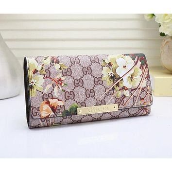 Gucci Trending Women Flower Leather Print Buckle Purse Wallet I